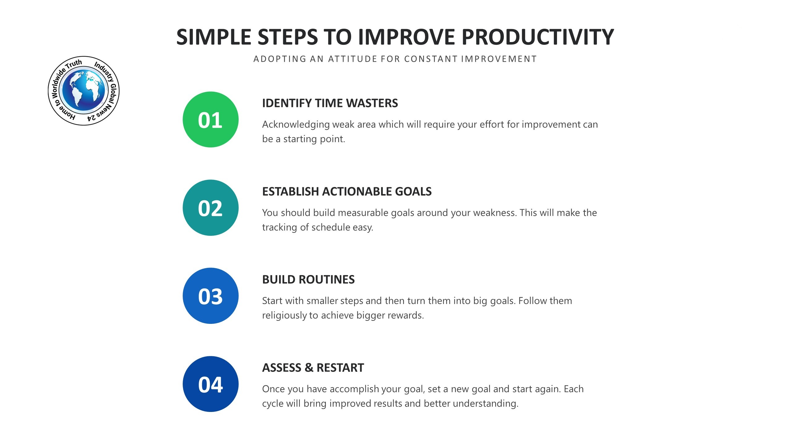SIMPLE STEPS TO IMPROVE PRODUCTIVITY